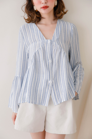 ON DEIS KOREA STRIPY V-NECK TOP IN BLUE
