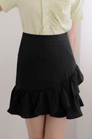 365 DAYS DE RUFFLED SKIRT IN BLACK