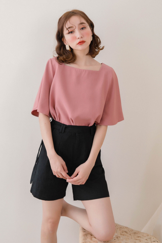PEANUT DAY BASIC FLARE TOP IN DUSTY ROSE