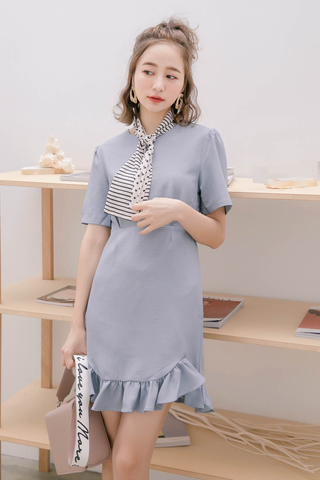 (BACKORDER) 365 DAYS DE KOREA CHECKERED RUFFLED DRESS IN BLUE