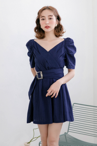 ERR DAY KOREA BELTED DRESS IN NAVY BLUE