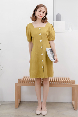 ERR DAY KOREA BUTTON DOWN DRESS IN MUSTARD