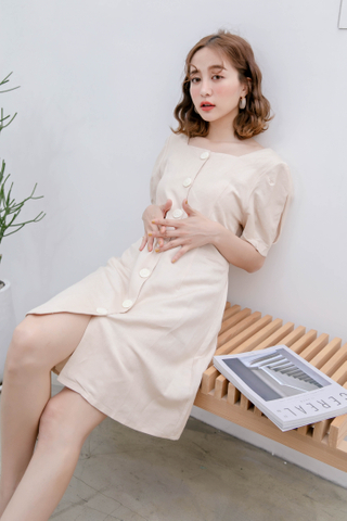 ERR DAY KOREA BUTTON DOWN DRESS IN BEIGE