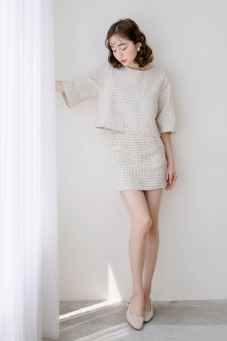 (BACKORDER) LEMAIRE FRAYED TRIM PLAID TWEED SET IN CREAMY