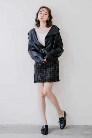LEMAIRE LEATHER JACKET IN BLACK