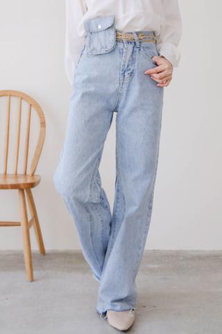 LEMAIRE DENIM WIDE-LEG PANTS WITH MINI BAG