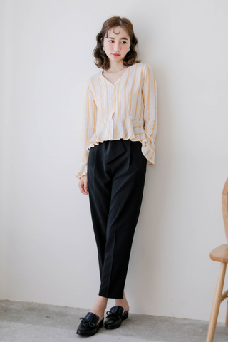 LEMAIRE STRIPEY TOP IN YELLOW