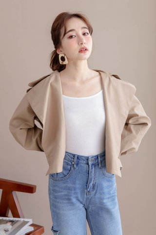 LEMAIRE LEATHER JACKET IN MILK TEA