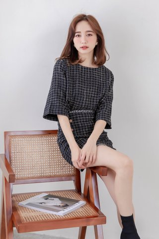 LEMAIRE FRAYED TRIM PLAID TWEED SET IN BLACK