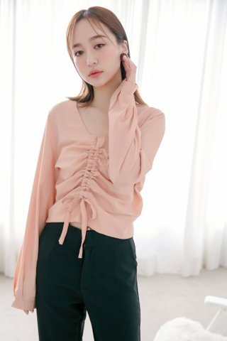 DEE TIE RUCHED TOP IN BABY CORAL