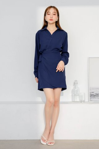 (BACKORDER) DEE ARIME MADE WRAP DRESS IN NAVY BLUE