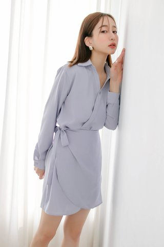 DEE ARIME MADE WRAP DRESS IN BABY BLUE