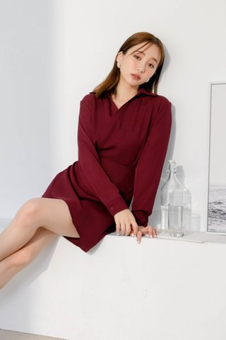 (BACKORDER) DEE ARIME MADE WRAP DRESS IN MAROON