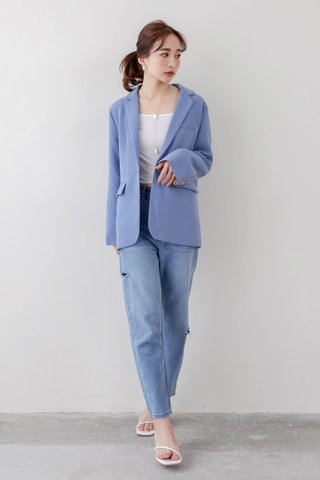 MERCI KOREA DOUBLE BREASTED BLAZER IN LIGHT BLUE