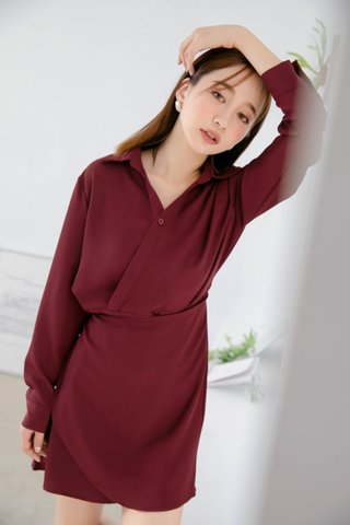DEE ARIME MADE WRAP DRESS IN MAROON