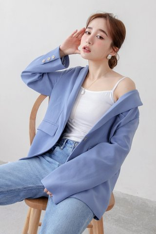 (BACKORDER) MERCI KOREA DOUBLE BREASTED BLAZER IN LIGHT BLUE