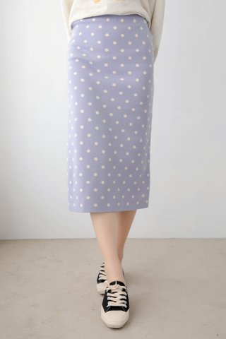 DEE KNIT POLKA DOT SKIRT IN BABY LILAC