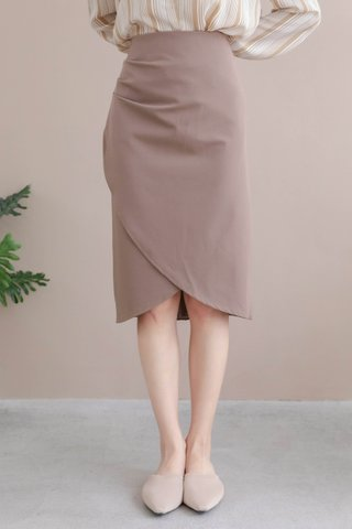 DARLING -5KG ASYMMETRICAL SKIRT IN MILK TEA