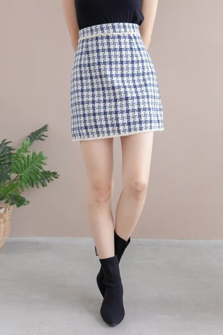 DEE HOUNDSTOOTH SKIRT IN BLUE