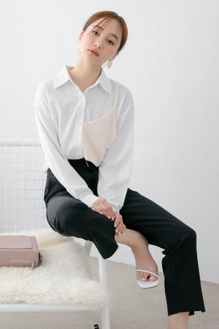 (BACKORDER) DEE KOREA CONTRAST SHIRT IN WHITE