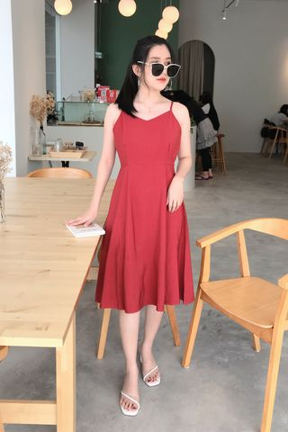 22DAYS MIDI DRESS IN DUSTY RED