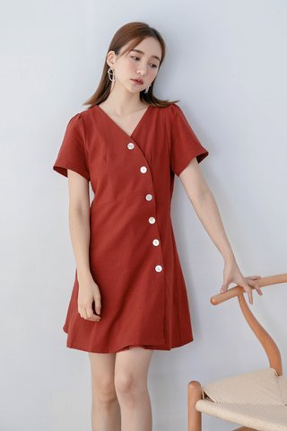 BUT LOVE KOREA BUTTON DRESS IN BRICK
