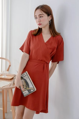 (BACKORDER) BOCY KOREA OVERLAP DRESS IN BRICK