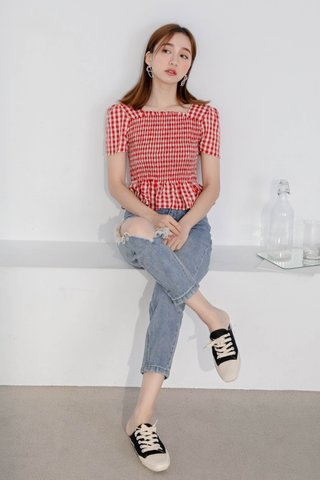 A' LOVE MADE 365 DAYS CHECK TOP IN RED