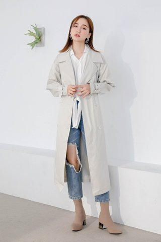 WITH 365 DAYS KOREA BELTED COAT WITH MINI BAG IN CREAM