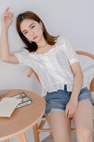 WITH 365 DAYS KOREA SQUARE NECK EYELET TOP IN WHITE