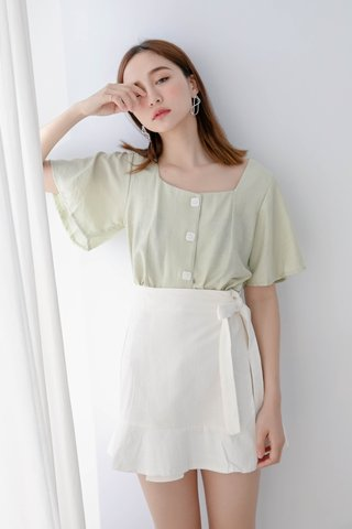 BUTTER DAY SWEET FLARE TOP IN AVOCADO