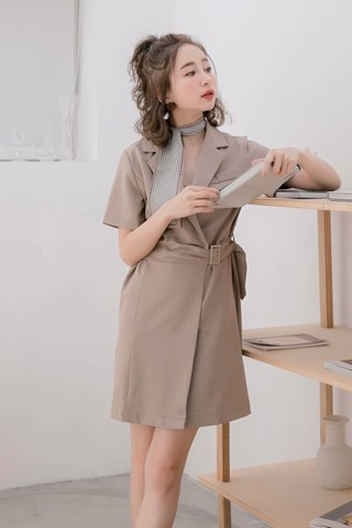 WITH DAYS OVERLAP DRESS IN KHAKI