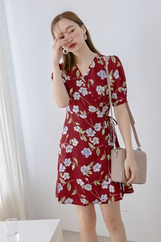 (BACKORDER) WITH 365 DAYS KOREA FLORAL PRINT DRESS IN DRIED RED
