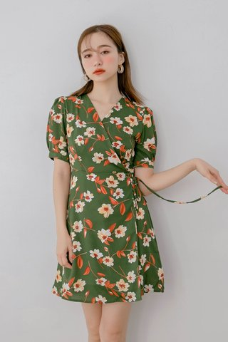 (BACKORDER) WITH 365 DAYS KOREA FLORAL PRINT DRESS IN DRIED GREEN