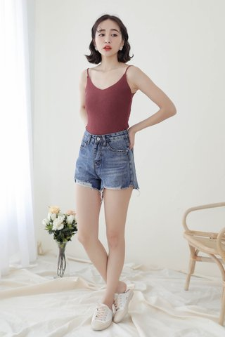 WITH DAYS BASIC KNIT CAMI TOP IN BABY WINE