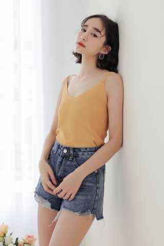 WITH DAYS BASIC KNIT CAMI TOP IN YELLOW