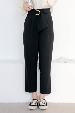 BOCY KOREA BELTED TAILORED PANTS IN BLACK