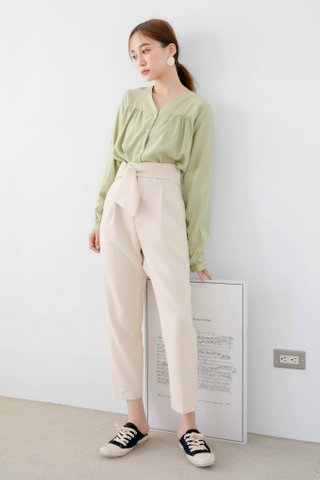 (BACKORDER) BOCY KOREA BELTED TAILORED PANTS IN CREAM