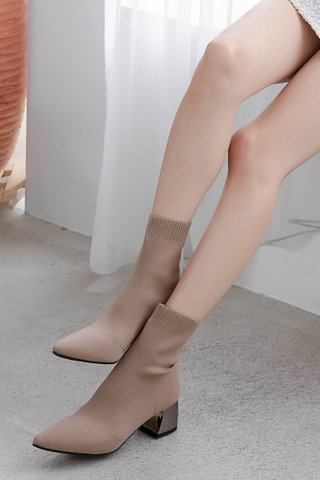(BACKORDER) A' LOVE MADE KOREA STRETCH ANKLE BOOTS IN MILK TEA
