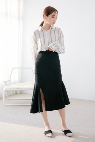 (BACKORDER) BOCY KOREA SPLIT FISH TAIL SKIRT IN BLACK