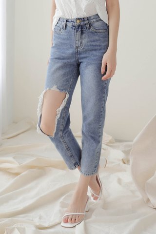 A' LOVE MADE 365 DAYS DISTRESSED WASHED DENIM JEANS