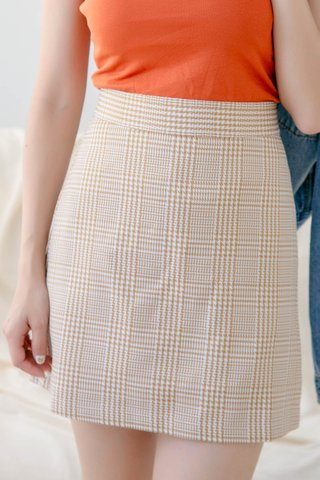 BOCY HOUNDSTOOTH SKIRT IN DUSTY ORANGE
