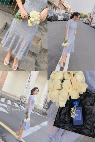 (BACKORDER) LE FOUR ARIMEE MADE KOREA FISH TAIL LACE DRESS IN BABY BLUE