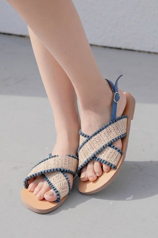 LIKE YOU KR POM POM SANDALS IN BLUE