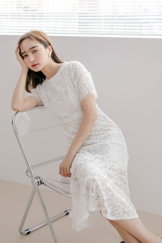 (BACKORDER) LE FOUR ARIMEE MADE KOREA FISH TAIL LACE DRESS IN WHITE