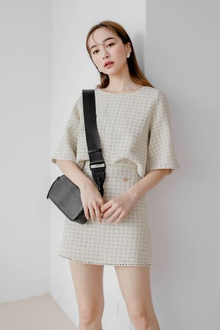 LEMAIRE FRAYED TRIM PLAID TWEED SET IN CREAMY