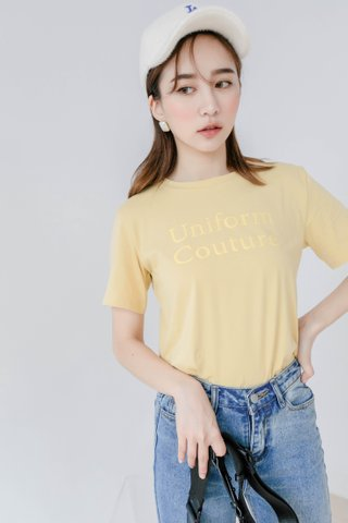 ' UNIFORM COUTURE ' SLOGAN TEE IN BABY YELLOW