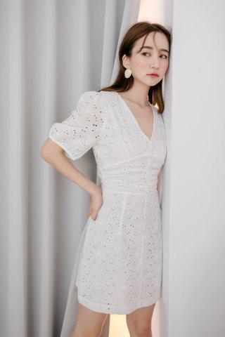 LE FOUR ARIMEE MADE KOREA EYELET DRESS IN WHITE