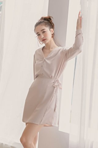 LIKE YOU KR BUTTON DOWN DRESS IN BABY NUDE