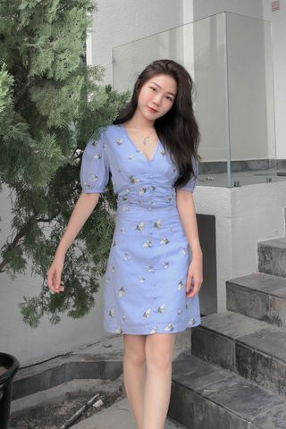 JU DAYS A'MADE KOREA WITH FLORAL EMBROIDERY DRESS IN BLUE
